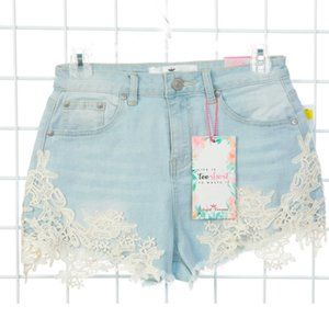 Almost Famous High Rise Jean Fringe & Lace Shorts